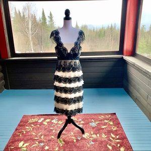 ❤️HOST PICK❤️ Tadashi Cream & Black Tiered Dress-8